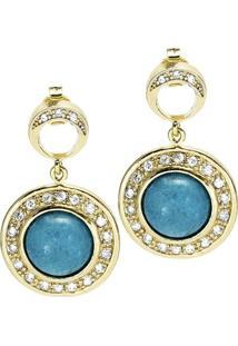 Brinco Banho De Ouro E Zirconias - Feminino-Azul