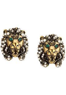 Gucci Par De Brincos De Cabeça De Leão - Dourado