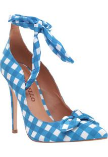 Scarpin Com Laço - Branco & Azul - Salto: 11Cmcecconello