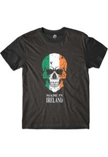 Camiseta Bsc Caveira País Irlanda Sublimada Masculina - Masculino-Preto