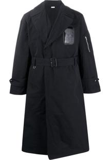 Random Identities Trench Coat Slim Com Cinto - Preto