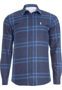 Camisa Masculina Maxi Xadrez Blue - Azul