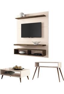 Painel Tv Life 1.3 Com Mesa De Centro Lucy E Aparador Quad Off White/D