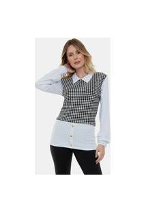 Blusa Camisa Sobreposição Fashion Ii Feminina Xadrez Branco