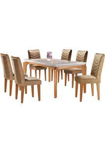 Conjunto De Mesa Para Sala De Jantar Tampo De Vidro Com 6 Cadeiras Mel-Rufato - Animalle Chocolate / Off White / Imbuia