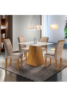 Sala De Jantar Completa Com Mesa E 4 Cadeiras Arezo Siena Móveis Ypê/Suede Animale Bege