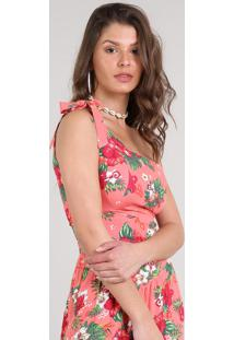 Top Cropped Feminino Um Ombro Só Estampado Floral Coral