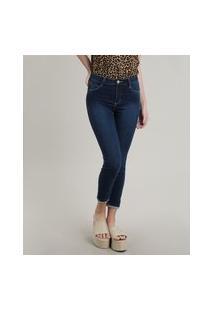 Calça Jeans Feminina Sawary Skinny Pull Up Com Barra Dobrada Azul Escuro