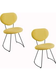 Kit 2 Cadeiras Gran Belo Mauritânia Linho Amarelo