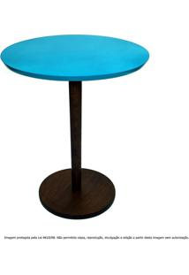 Mesa Lateral De Canto Decorativa Monopé Pequena Tabaco E Azul Turquesa