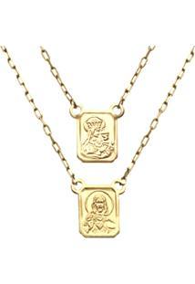 Escapulario Prata Mil Ouro Sagrado Coraã§Ã£O De Jesus E Nossa Senhora Do Carmo Ouro - Dourado - Dafiti