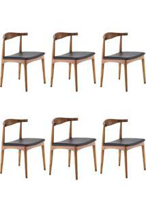 Kit 6 Cadeiras Decorativas Sala E Escritã³Rio Nami Madeira Bege - Gran Belo - Marrom - Dafiti
