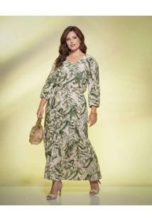 Vestido Almaria Plus Size New Umbi Longo Estampado