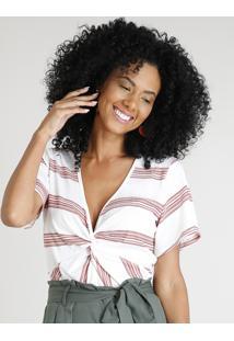 Blusa Feminina Cropped Listrada Com Nó Manga Curta Decote V Branca