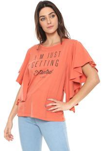 Camiseta Colcci Babados Laranja