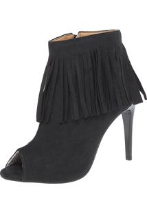 Open Boot Dafiti Shoes Franjas Preta