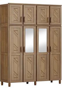 Guarda-Roupa Grécia Casal Imbuia Com Espelho 8 Portas 3 Gavetas E Maleiro Madeira Maciça De Pinus Cavazotto