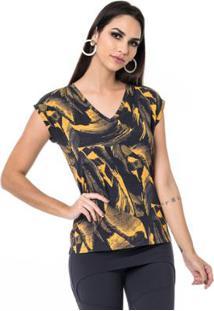 Camiseta Moikana Malha De Viscose Estampada Feminina - Feminino-Preto+Amarelo