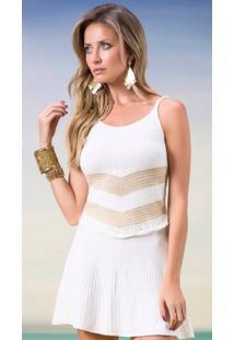 Blusa Tricot Sem Mangas Listras Decotada Branca