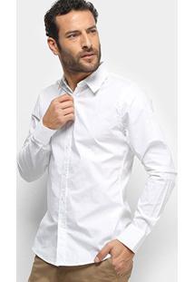 Camisa Colcci Fit Manga Longa Masculina - Masculino-Branco