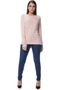 Blusa Logan Tricot Trabalhada Despojada Raio - Feminino-Rosa Claro