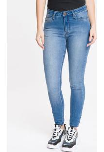 Calça Jeans Feminina Five Pockets Super Skinny Cintura Média Azul Médio Calvin Klein - 34