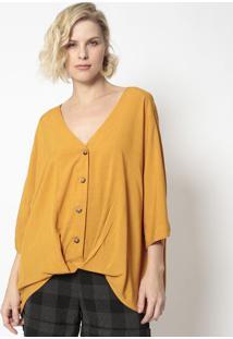 Blusa Com Transpasse- Amarelo Escuro- Milioremiliore