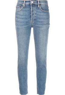 Re Done Calça Jeans Cropped Cintura Alta - Azul 03a91722d6d