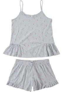 Pijama Mescla Peplum Flamingos