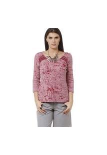Blusa Energia Fashion Devorê Rosa