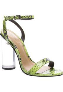 Sandália Texturizada Cobra- Incolor & Verde Claroschutz