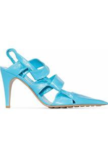 Bottega Veneta Sapato Bv De Couro Com Salto 90Mm - Azul