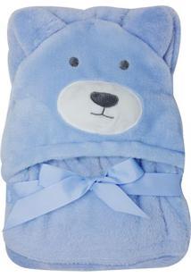 Cobertor Infantil Com Capuz De Bichos- Azul Claro- 7Niazitex