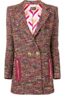 Elisabetta Franchi Blazer Tweed Com Botões Duplos - Preto