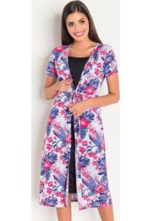 Vestido Com Sobreposição Floral Moda Evangélica