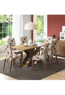 Conjunto De Mesa Com 6 Cadeiras Vermont Rústico E Hibiscos