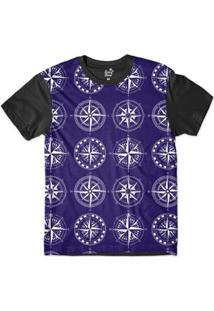 Camiseta Long Beach Náutica Pontos Cardeais Sublimada Masculina - Masculino-Marinho+Preto