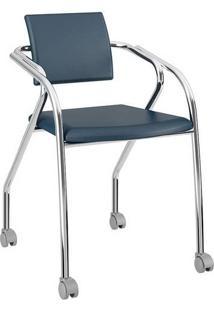 Cadeira Com Rodízios 1713 Cromada Napa/Azul Noturno Carraro
