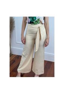 Calça Pantalona Detalhe Amarrar Amarelo Lunar