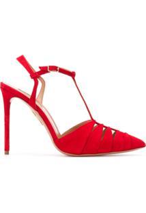 Aquazzura Sapato Panthere De Camurça Com Salto 105Mm - Vermelho