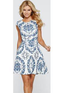 Vestido Em Look Scuba Branco/Azul