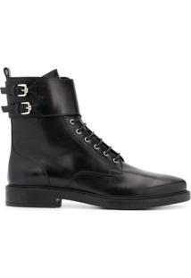 Tod'S Ankle Boot Com Cadarço - Preto