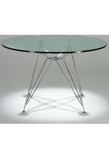 Mesa De Jantar Charles Eames Redonda Tampo De Vidro Clássica Design By Charles E Ray Eames