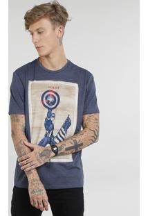 Camiseta Masculina Capitão América Manga Curta Gola Careca Azul