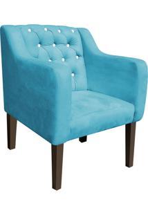 Poltrona Decorativa Lisa Suede Azul Turquesa Com Strass - D'Rossi.