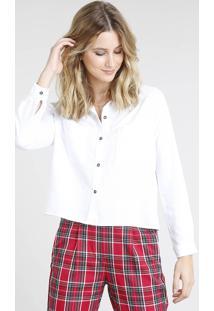 Camisa Feminina Ampla Com Bolsos Manga Longa Branca