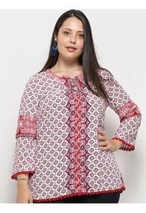 Blusa Fiya Manga Longa Estampada Plus Size Feminina - Feminino-Vermelho