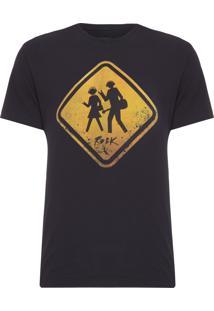 Camiseta Masculina Estampa Rock - Preto