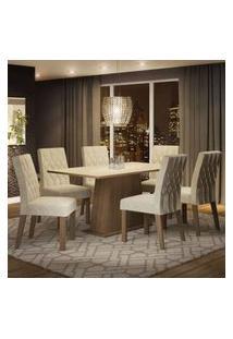 Conjunto Sala De Jantar Madesa Daniela Mesa Tampo De Madeira Com 6 Cadeiras Rustic/Crema/Imperial