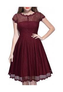 Vestido De Renda Decote Em V Nas Costas Manga Raglán - Vinho